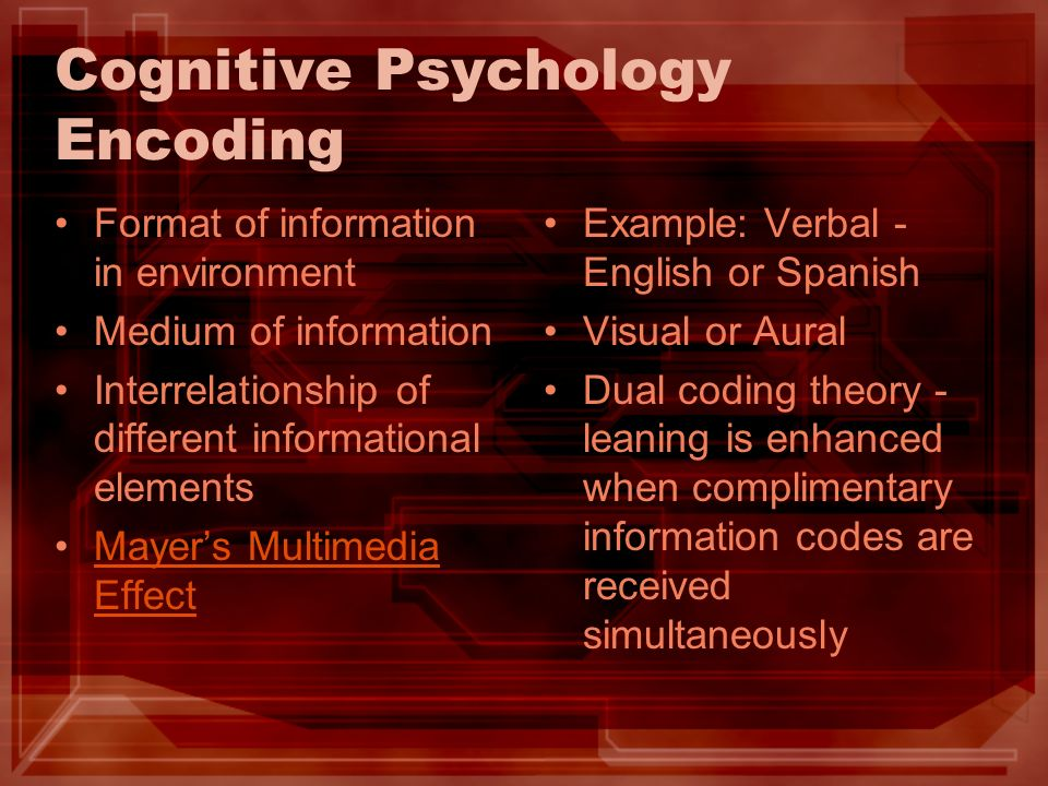 Cognitive Psychology Encoding Format of information in environment Medium of information Interrelationship of different informational elements Mayers