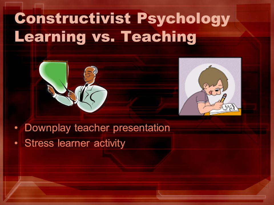 Constructivist Psychology Learning vs. Teaching Downplay teacher presentation Stress learner activity
