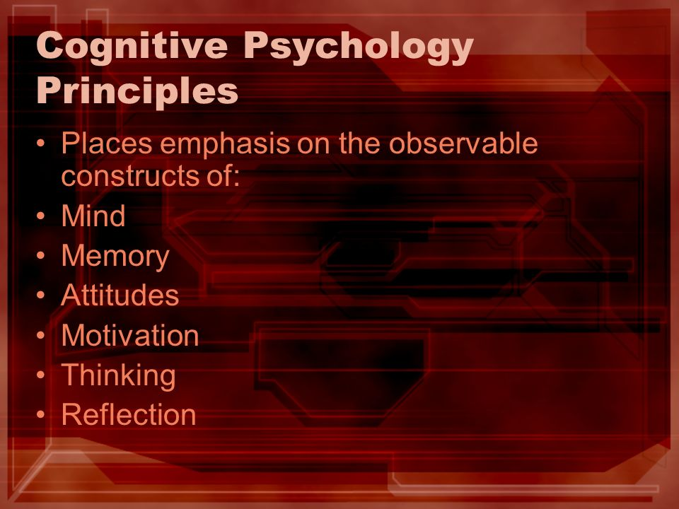Cognitive Psychology Principles Places emphasis on the observable constructs of: Mind Memory Attitudes Motivation Thinking Reflection
