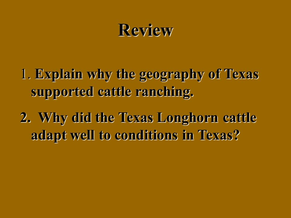 Review 1. Explain why the geography of Texas supported cattle ranching.