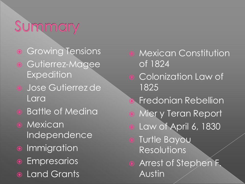 Growing Tensions Gutierrez-Magee Expedition Jose Gutierrez de Lara Battle of Medina Mexican Independence Immigration Empresarios Land Grants Mexican C