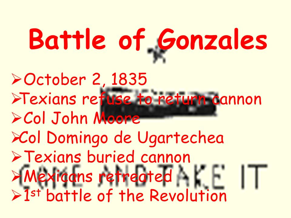 Battle of Gonzales October 2, 1835 Texians refuse to return cannon Col John Moore Col Domingo de Ugartechea Texians buried cannon Mexicans retreated 1