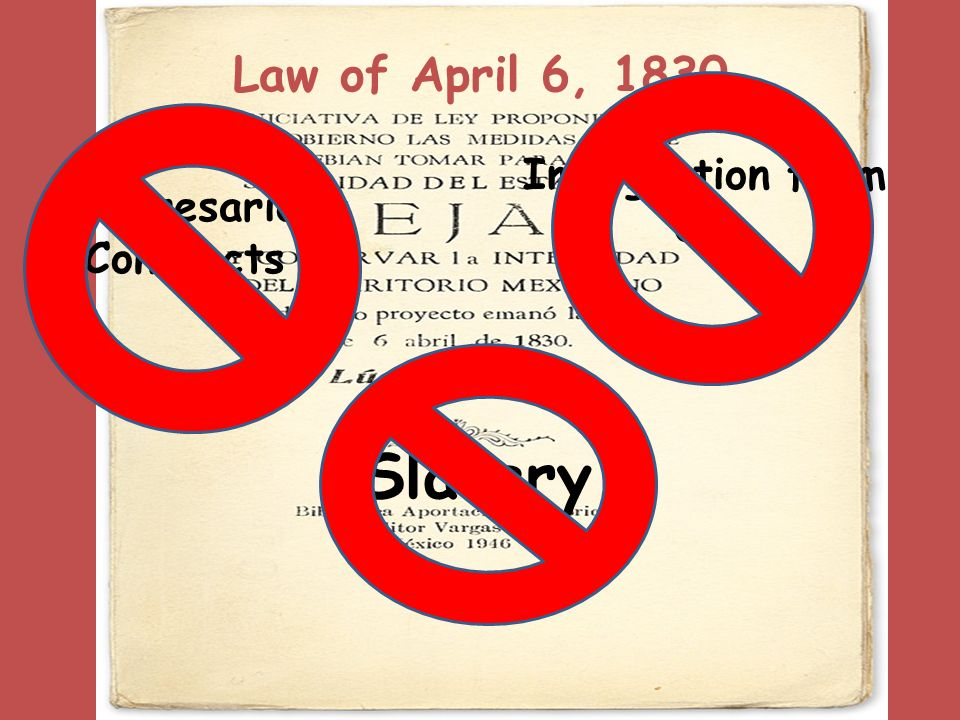 Law of April 6, 1830 Empresario Contracts Immigration from US Slavery