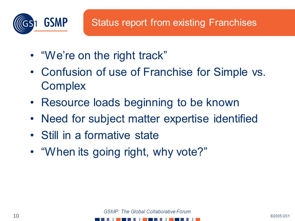 ©2005 GS1 10 GSMP: The Global Collaborative Forum Status report from existing Franchises Were on the right track Confusion of use of Franchise for Simple vs.