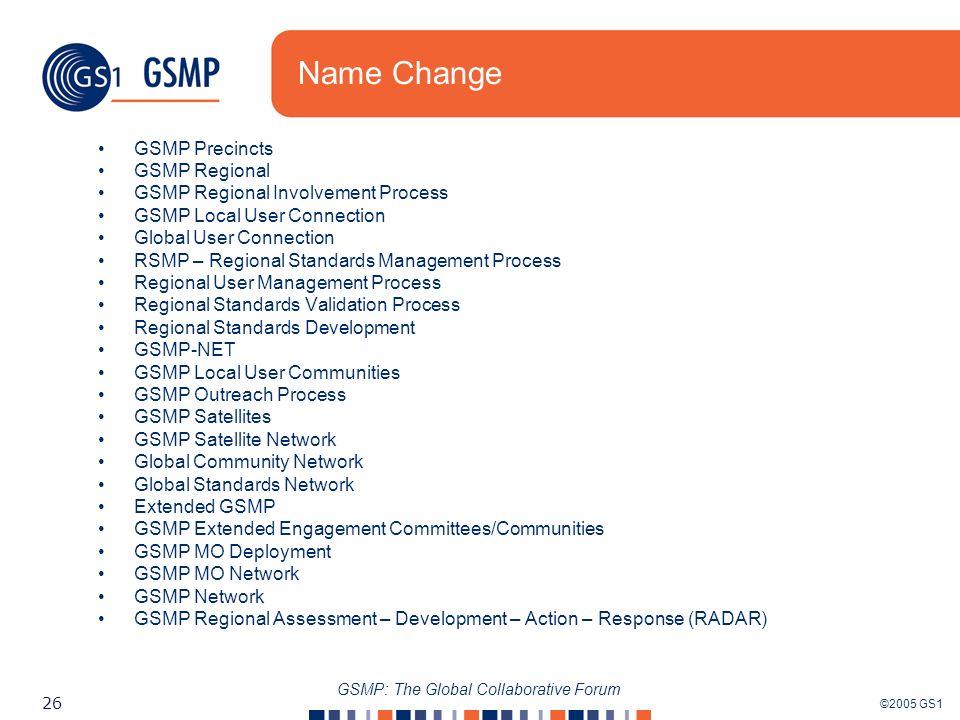 ©2005 GS1 26 GSMP: The Global Collaborative Forum Name Change GSMP Precincts GSMP Regional GSMP Regional Involvement Process GSMP Local User Connectio