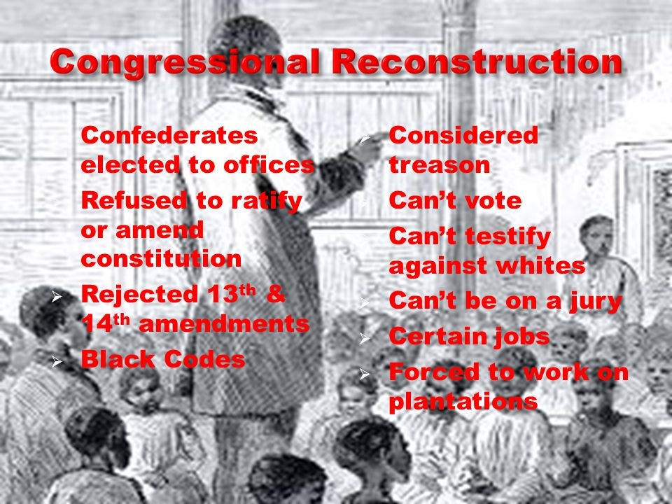 Confederates elected to offices Refused to ratify or amend constitution Rejected 13 th & 14 th amendments Black Codes Considered treason Cant vote Can