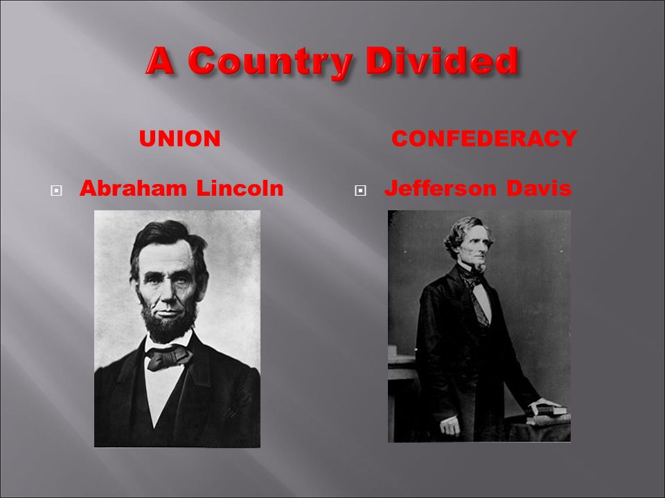 UNIONCONFEDERACY Abraham Lincoln Jefferson Davis