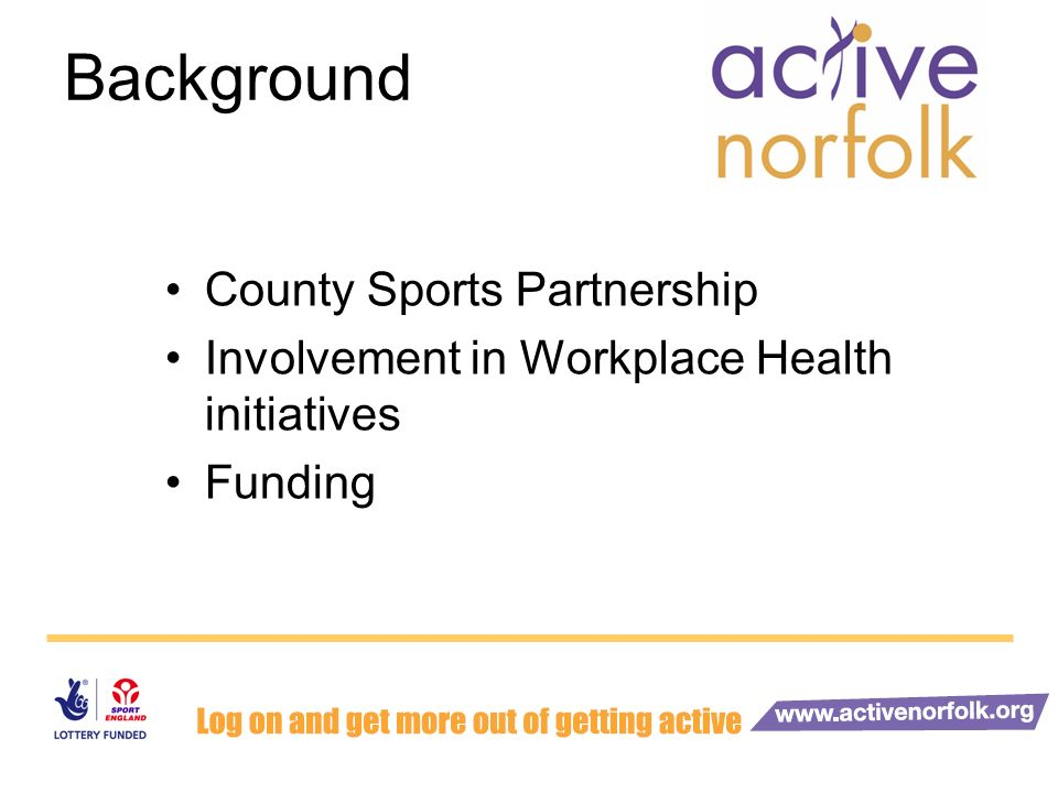 Fit4Work Funded by DWP Challenge Fund Initially a 1 year project County-Wide