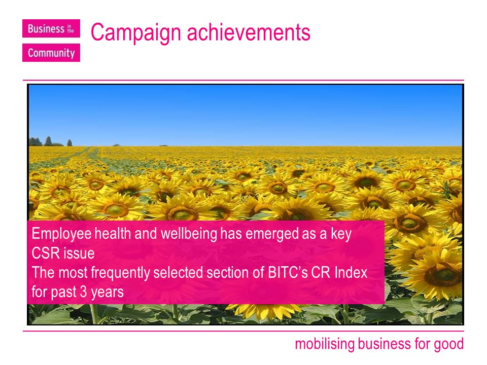 mobilising business for good Campaign achievements Employee health and wellbeing has emerged as a key CSR issue The most frequently selected section of BITCs CR Index for past 3 years