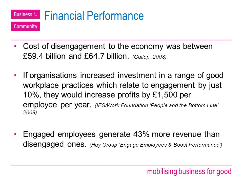 mobilising business for good Financial Performance Cost of disengagement to the economy was between £59.4 billion and £64.7 billion.