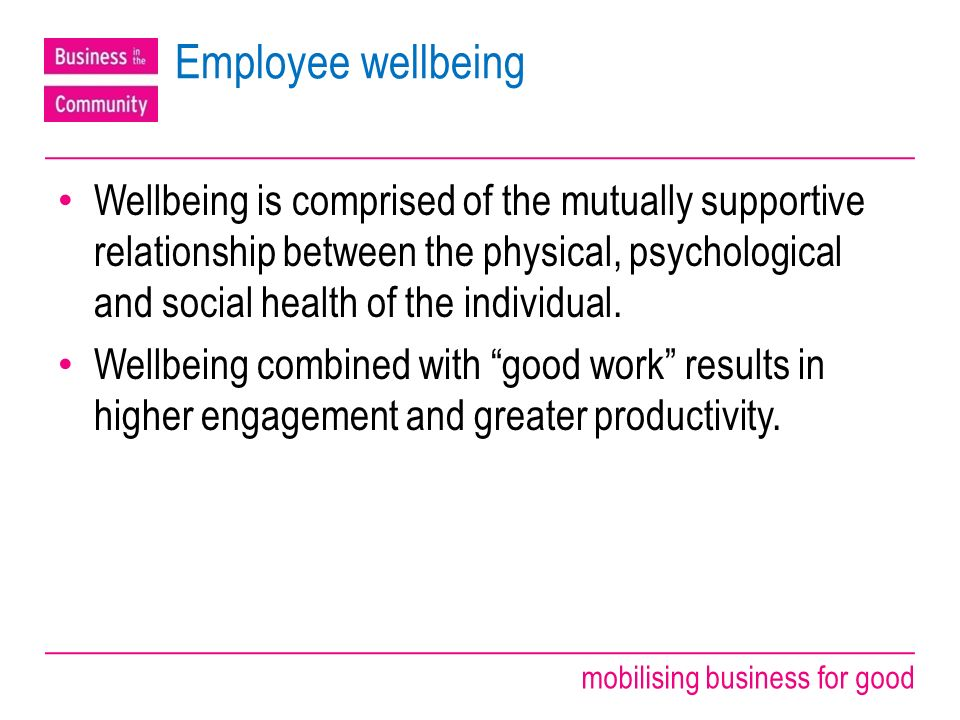 mobilising business for good Employee wellbeing Wellbeing is comprised of the mutually supportive relationship between the physical, psychological and social health of the individual.