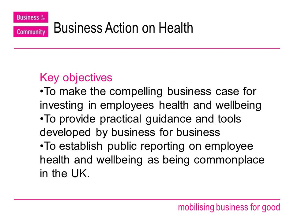 mobilising business for good From health and safety compliance to public reporting To make public reporting on employee health and wellbeing commonplace in the UK by 2011