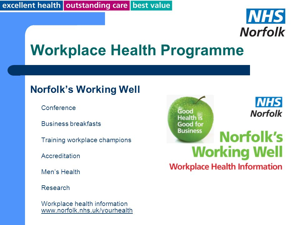 Workplace Health Programme Norfolks Working Well Conference Business breakfasts Training workplace champions Accreditation Mens Health Research Workpl