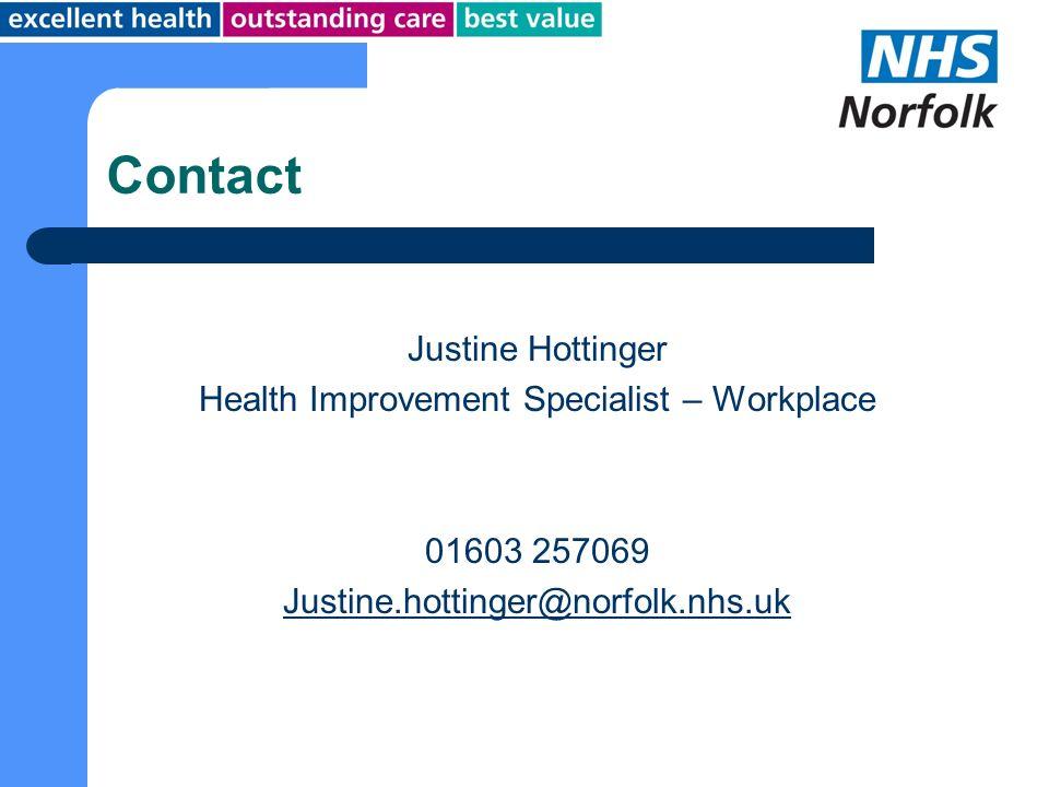 Contact Justine Hottinger Health Improvement Specialist – Workplace 01603 257069 Justine.hottinger@norfolk.nhs.uk