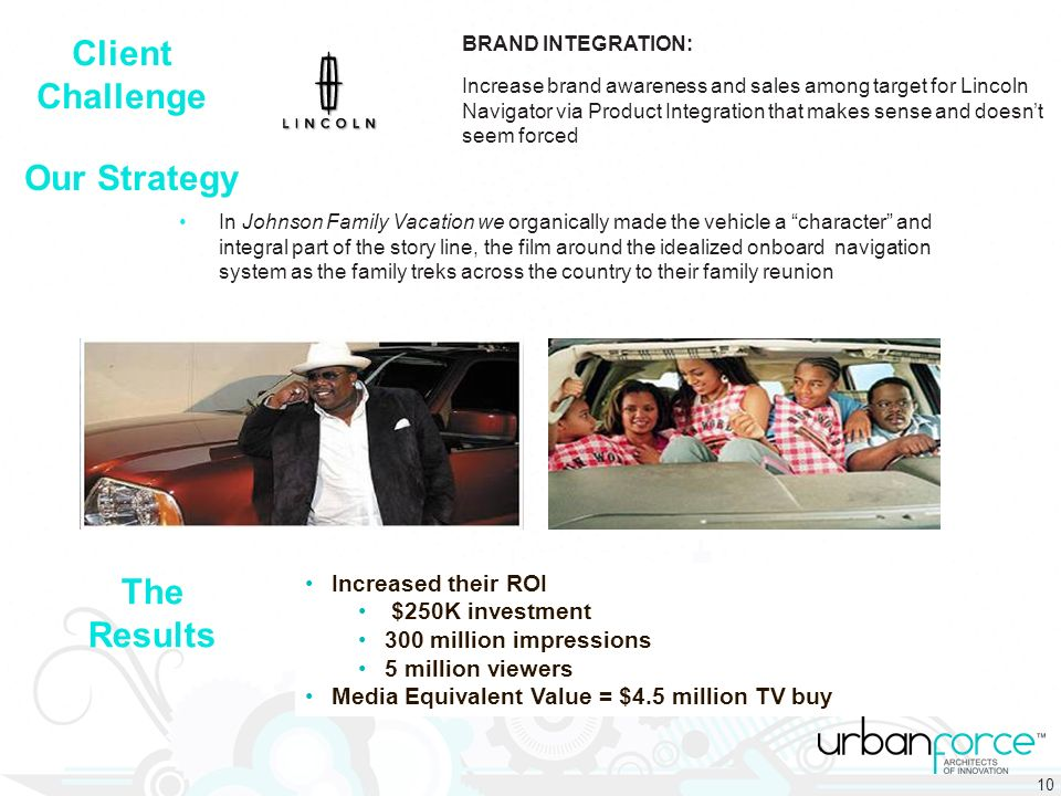 Our Strategy Client Challenge The Results Increased their ROI $250K investment 300 million impressions 5 million viewers Media Equivalent Value = $4.5 million TV buy In Johnson Family Vacation we organically made the vehicle a character and integral part of the story line, the film around the idealized onboard navigation system as the family treks across the country to their family reunion BRAND INTEGRATION: Increase brand awareness and sales among target for Lincoln Navigator via Product Integration that makes sense and doesnt seem forced 10