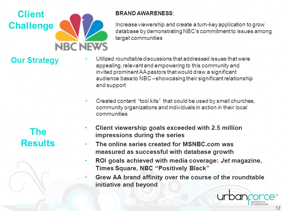 BRAND AWARENESS : Increase viewership and create a turn-key application to grow database by demonstrating NBCs commitment to issues among target communities Utilized roundtable discussions that addressed issues that were appealing, relevant and empowering to this community and invited prominent AA pastors that would draw a significant audience base to NBC --showcasing their significant relationship and support Created content tool kits that could be used by small churches, community organizations and individuals in action in their local communities Our Strategy Client Challenge The Results Client viewership goals exceeded with 2.5 million impressions during the series The online series created for MSNBC.com was measured as successful with database growth ROI goals achieved with media coverage: Jet magazine, Times Square, NBC Positively Black Grew AA brand affinity over the course of the roundtable initiative and beyond 12