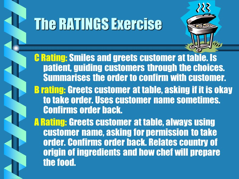 The RATINGS Exercise C Rating: Smiles and greets customer at table. Is patient, guiding customers through the choices. Summarises the order to confirm
