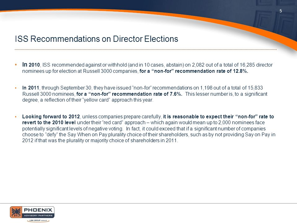 ISS Recommendations on Director Elections In 2010, ISS recommended against or withhold (and in 10 cases, abstain) on 2,082 out of a total of 16,285 director nominees up for election at Russell 3000 companies, for a non-for recommendation rate of 12.8%.