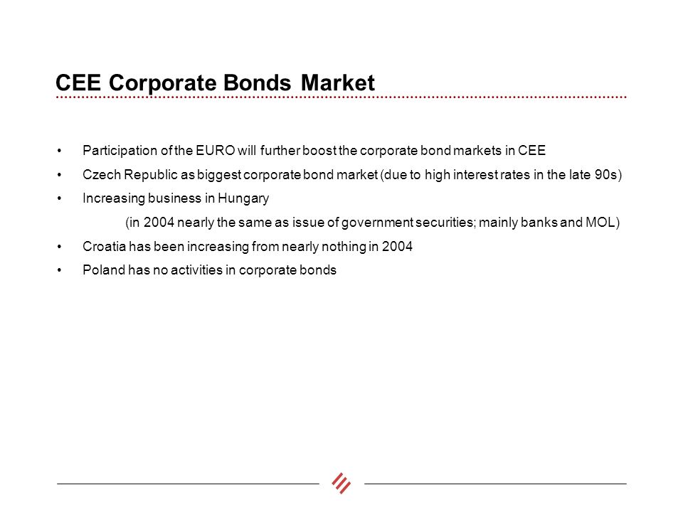 CEE Corporate Bonds Market Participation of the EURO will further boost the corporate bond markets in CEE Czech Republic as biggest corporate bond market (due to high interest rates in the late 90s) Increasing business in Hungary (in 2004 nearly the same as issue of government securities; mainly banks and MOL) Croatia has been increasing from nearly nothing in 2004 Poland has no activities in corporate bonds
