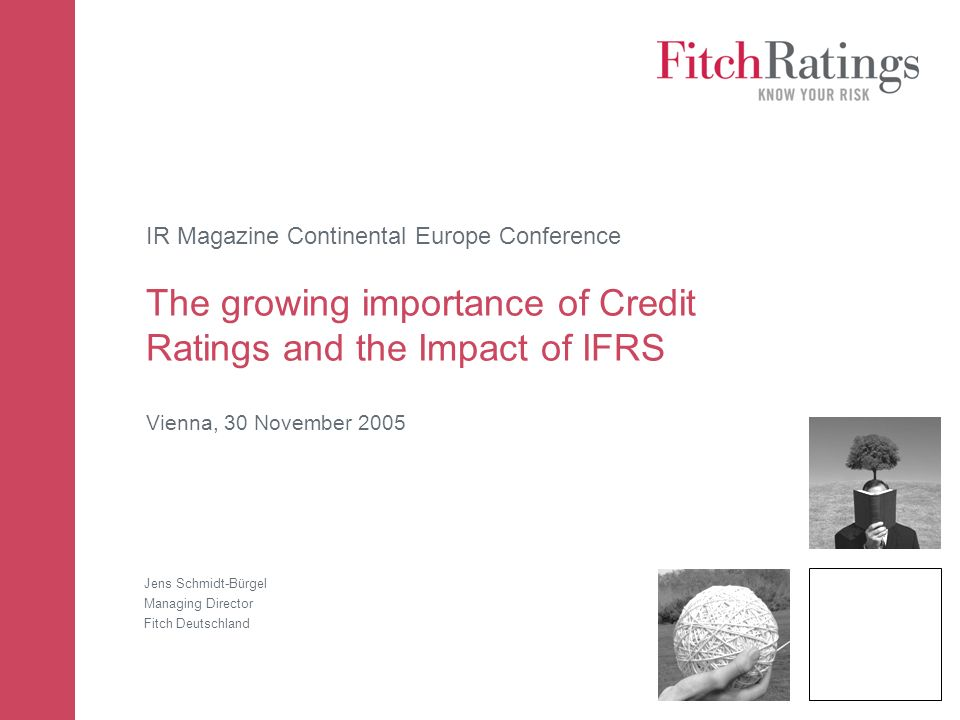 IR Magazine Continental Europe Conference The growing importance of Credit Ratings and the Impact of IFRS Vienna, 30 November 2005 Jens Schmidt-Bürgel Managing Director Fitch Deutschland
