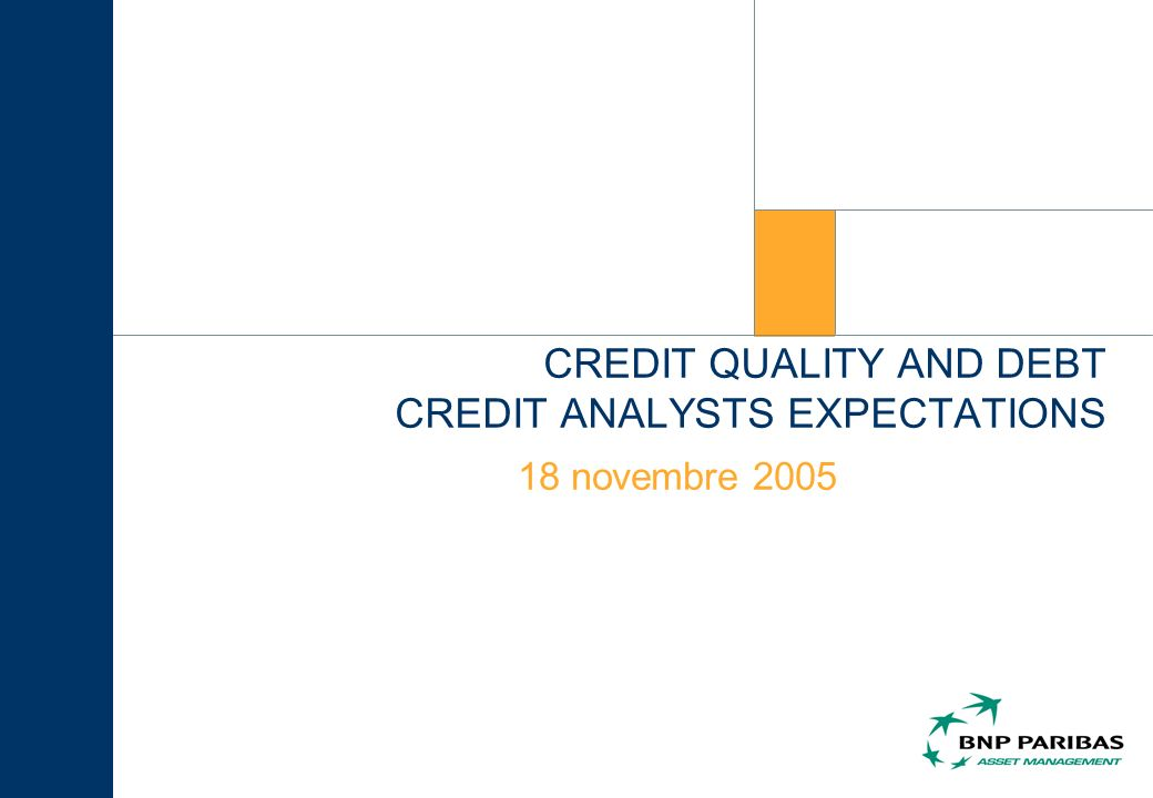 CREDIT QUALITY AND DEBT CREDIT ANALYSTS EXPECTATIONS 18 novembre 2005
