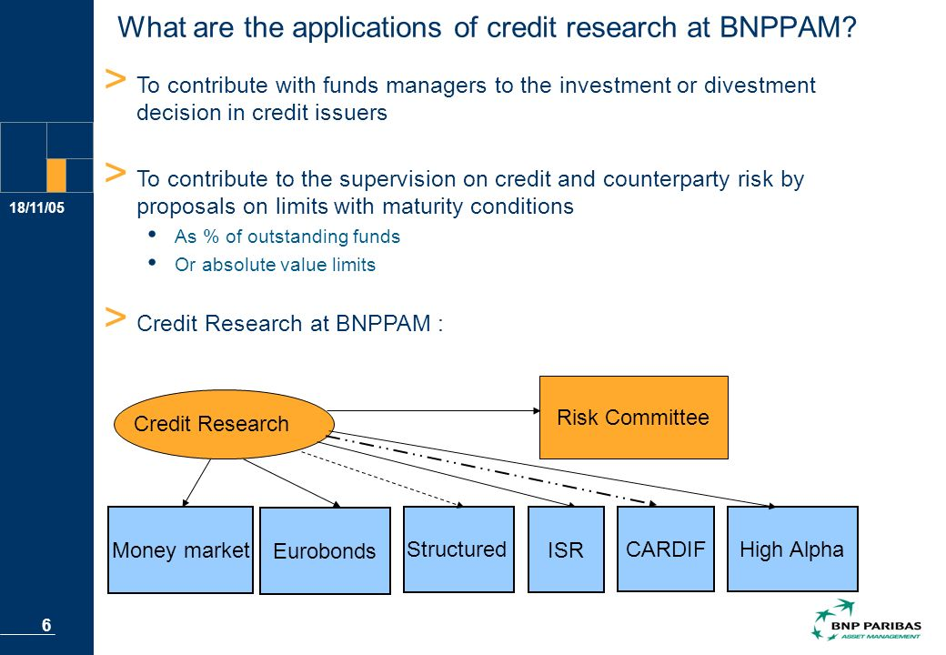 18/11/05 6 > To contribute with funds managers to the investment or divestment decision in credit issuers > To contribute to the supervision on credit and counterparty risk by proposals on limits with maturity conditions As % of outstanding funds Or absolute value limits > Credit Research at BNPPAM : Risk Committee Money market Eurobonds Structured High Alpha Credit Research CARDIF ISR What are the applications of credit research at BNPPAM.