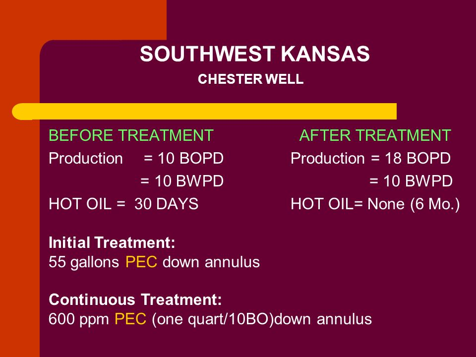 SOUTHWEST KANSAS CHESTER WELL BEFORE TREATMENT Production= 10 BOPD = 10 BWPD HOT OIL = 30 DAYS AFTER TREATMENT Production = 18 BOPD = 10 BWPD HOT OIL=