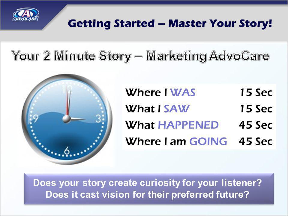 Getting Started – Master Your Story! Does your story create curiosity for your listener? Does it cast vision for their preferred future? Where I WAS15