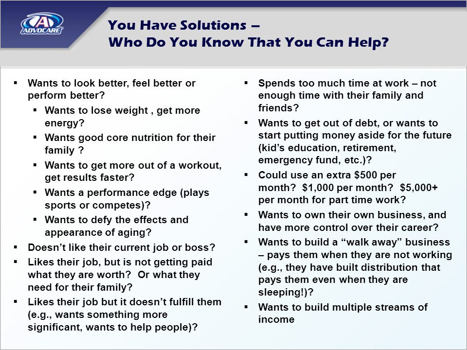 You Have Solutions – Who Do You Know That You Can Help? Wants to look better, feel better or perform better? Wants to lose weight, get more energy? Wa