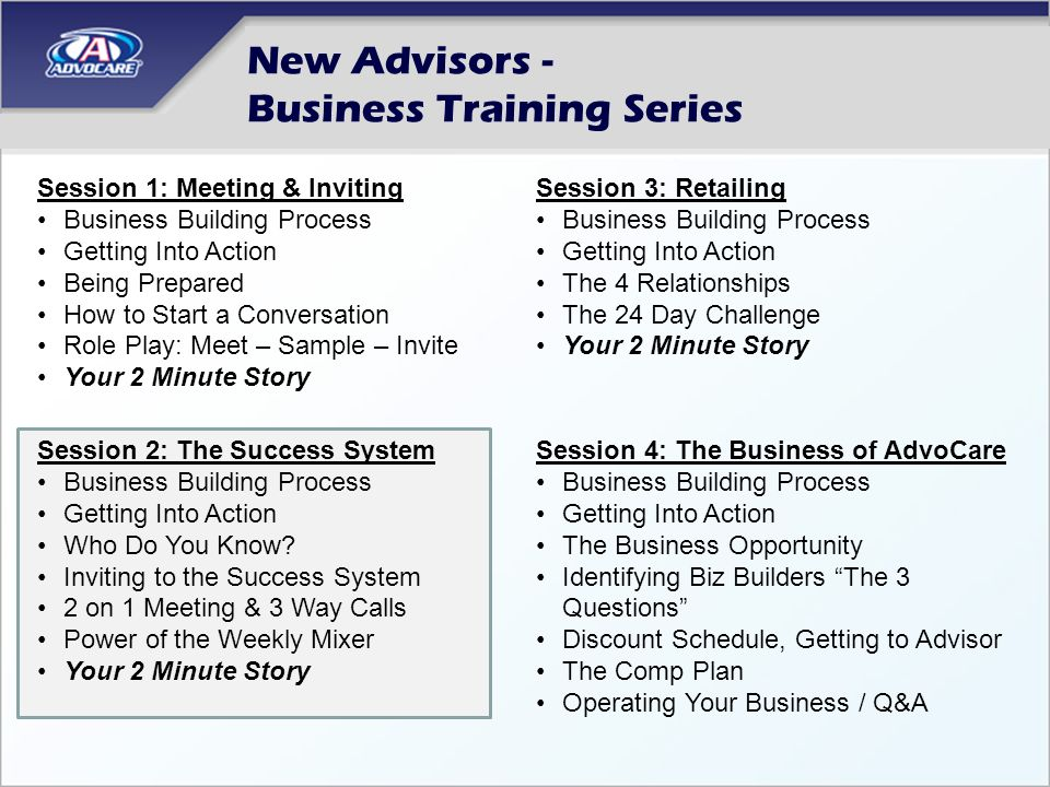 New Advisors - Business Training Series Session 1: Meeting & Inviting Business Building Process Getting Into Action Being Prepared How to Start a Conversation Role Play: Meet – Sample – Invite Your 2 Minute Story Session 2: The Success System Business Building Process Getting Into Action Who Do You Know.