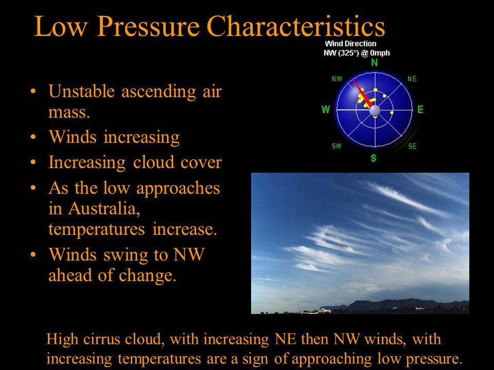High Pressure Characteristics Stable descending air mass Calm winds Often see fog or frost Clear skies In Australia winds from NE area. Clear day abov