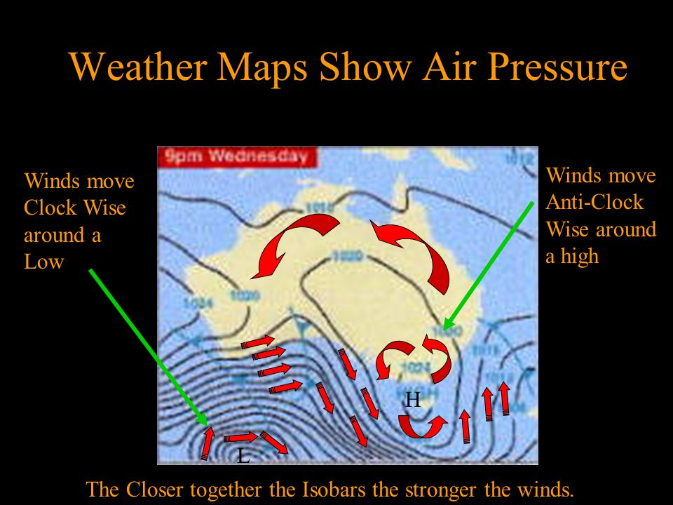 Air Pressure & Weather Maps Maps Weather maps show the positions of air masses. An air mass is a very large body of air that has similar properties. A