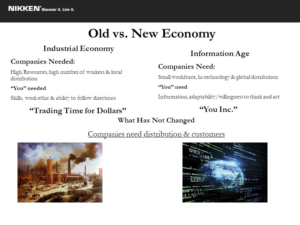 Old vs. New Economy Industrial Economy Companies Needed: High Resources, high number of workers & local distribution You needed Skills, work ethic & a