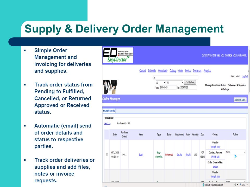 Supply & Delivery Order Management Simple Order Management and invoicing for deliveries and supplies.