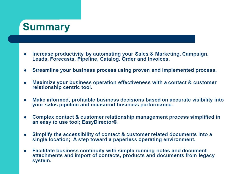 Summary Increase productivity by automating your Sales & Marketing, Campaign, Leads, Forecasts, Pipeline, Catalog, Order and Invoices.
