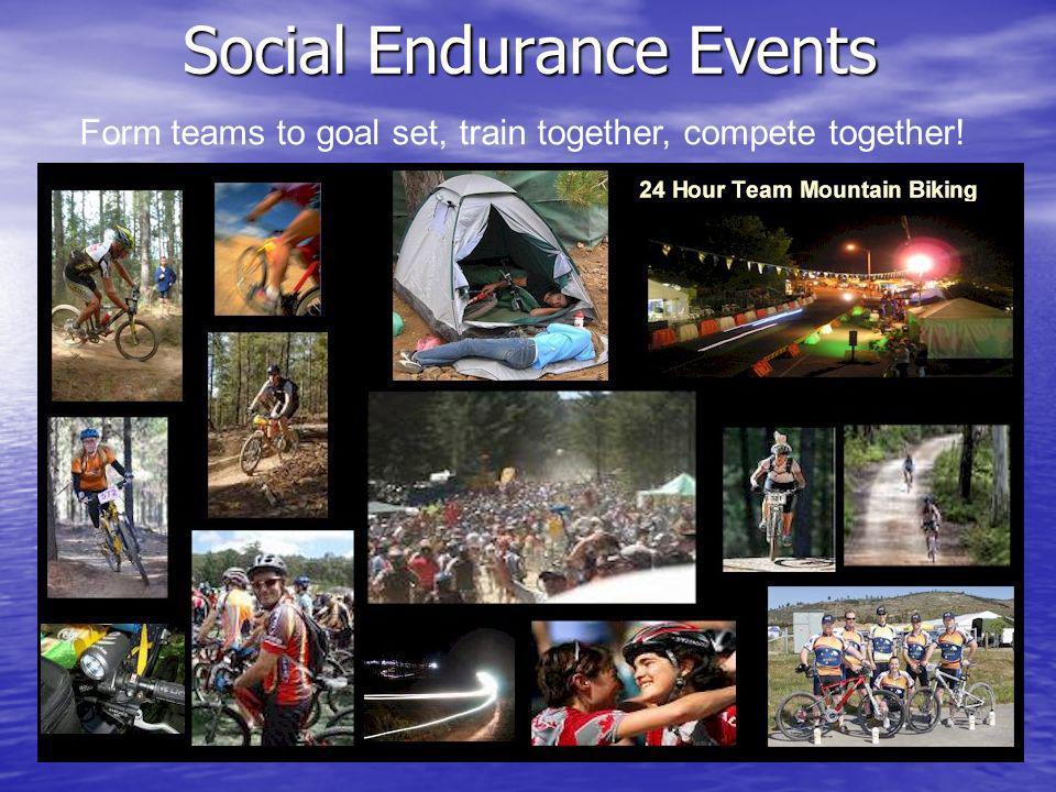 Social Endurance Events Form teams to goal set, train together, compete together!