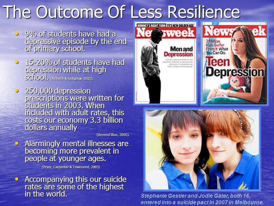 The Outcome Of Less Resilience 9% of students have had a depressive episode by the end of primary school.