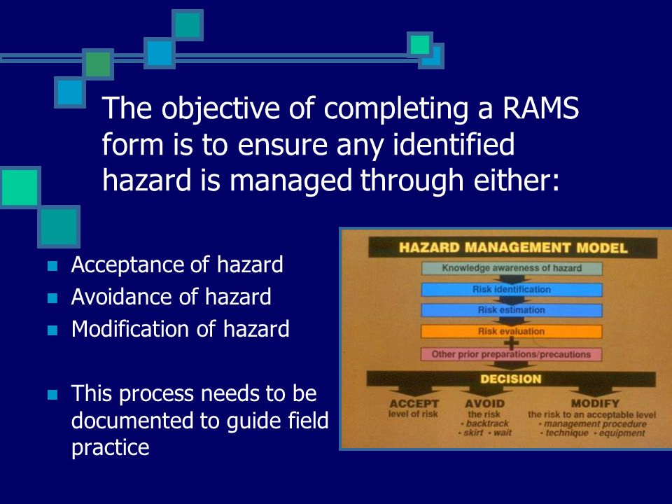 The objective of completing a RAMS form is to ensure any identified hazard is managed through either: Acceptance of hazard Avoidance of hazard Modific