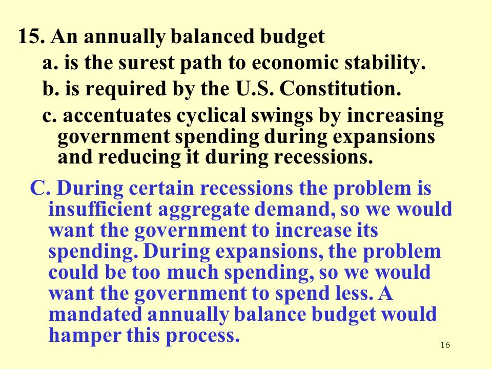 16 15. An annually balanced budget a. is the surest path to economic stability. b. is required by the U.S. Constitution. c. accentuates cyclical swing