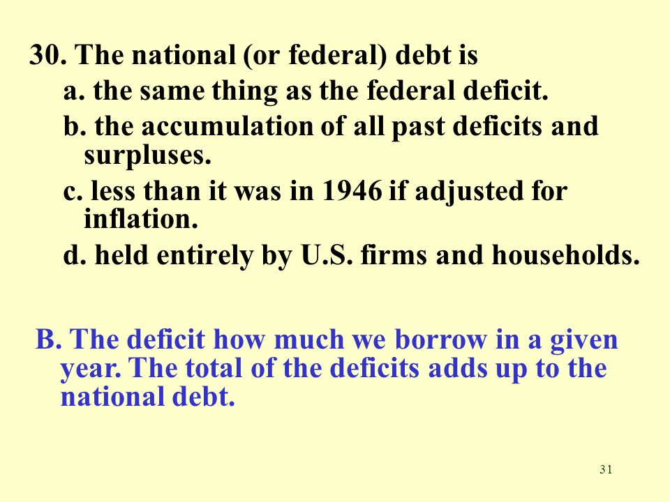 31 30. The national (or federal) debt is a. the same thing as the federal deficit. b. the accumulation of all past deficits and surpluses. c. less tha