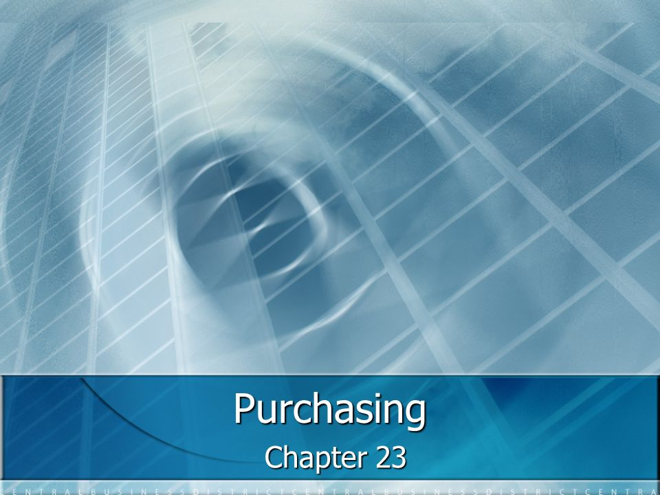 Purchasing Chapter 23