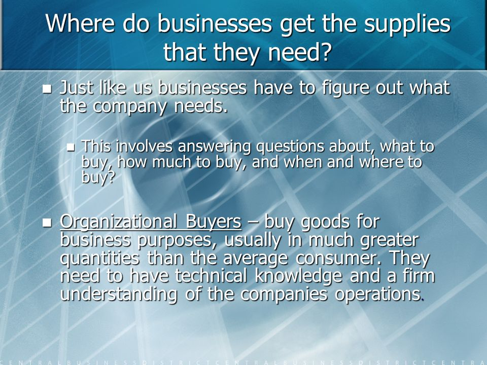 Where do businesses get the supplies that they need.