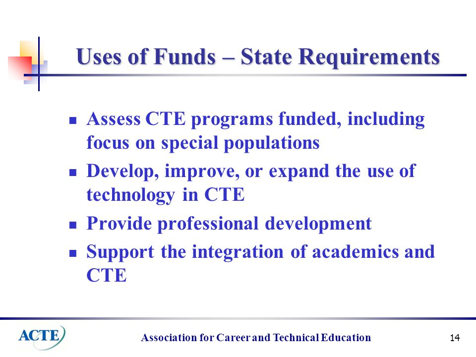 Association for Career and Technical Education 14 Uses of Funds – State Requirements Assess CTE programs funded, including focus on special populations Develop, improve, or expand the use of technology in CTE Provide professional development Support the integration of academics and CTE