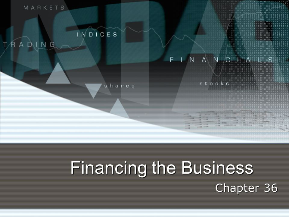 Financing the Business Chapter 36