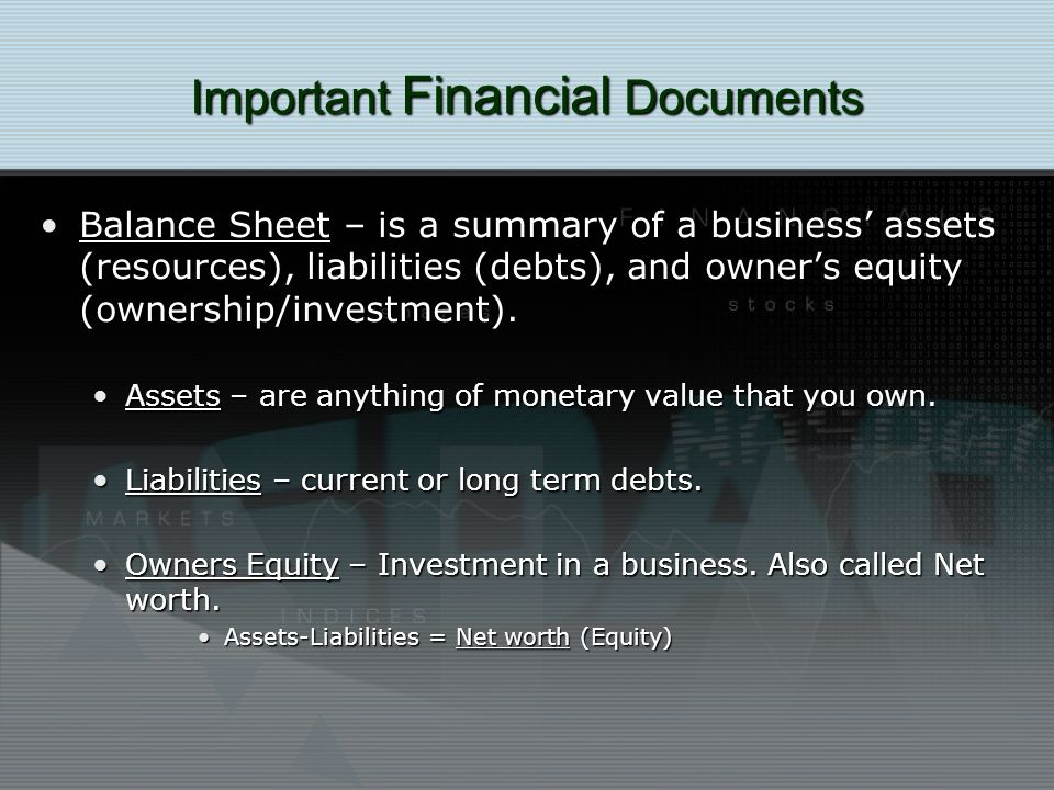 Important Financial Documents Balance Sheet – is a summary of a business assets (resources), liabilities (debts), and owners equity (ownership/investment).Balance Sheet – is a summary of a business assets (resources), liabilities (debts), and owners equity (ownership/investment).