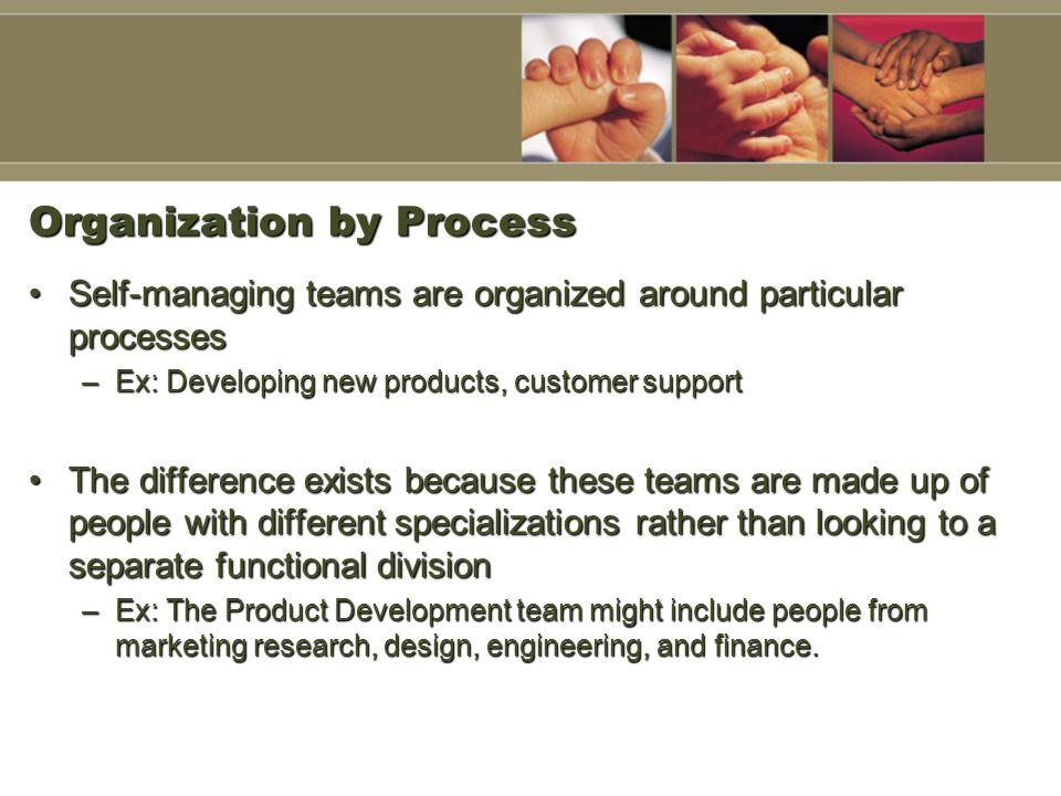Organization by Process Self-managing teams are organized around particular processesSelf-managing teams are organized around particular processes –Ex