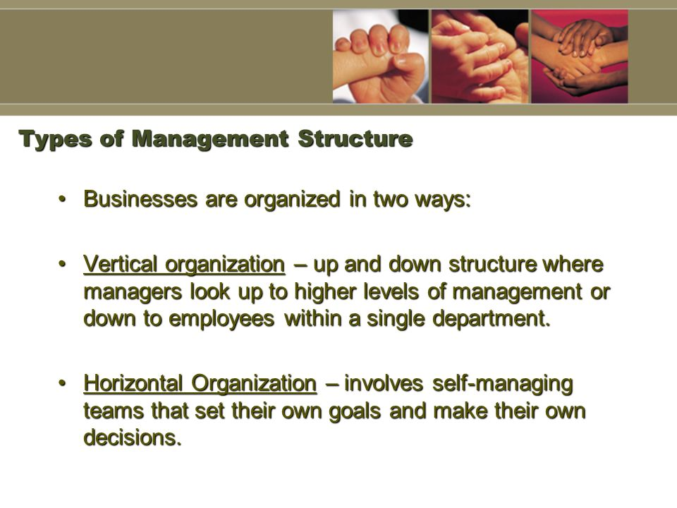 Types of Management Structure Businesses are organized in two ways:Businesses are organized in two ways: Vertical organization – up and down structure