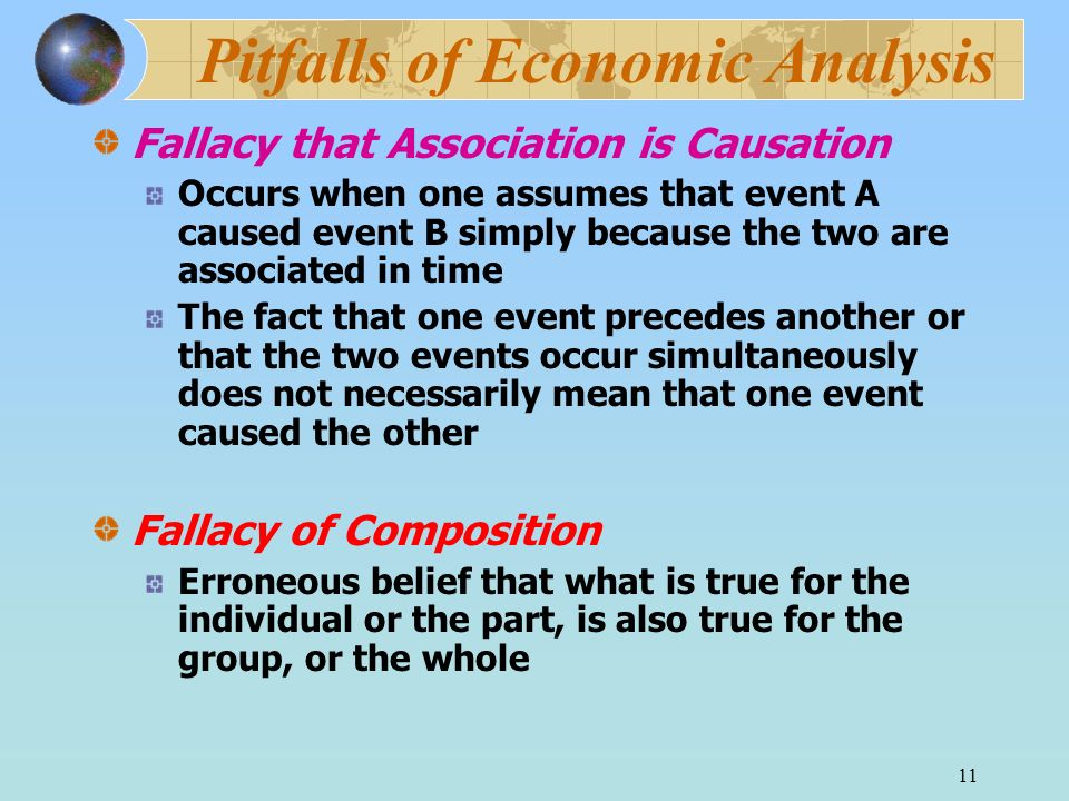 11 Pitfalls of Economic Analysis Fallacy that Association is Causation Occurs when one assumes that event A caused event B simply because the two are associated in time The fact that one event precedes another or that the two events occur simultaneously does not necessarily mean that one event caused the other Fallacy of Composition Erroneous belief that what is true for the individual or the part, is also true for the group, or the whole