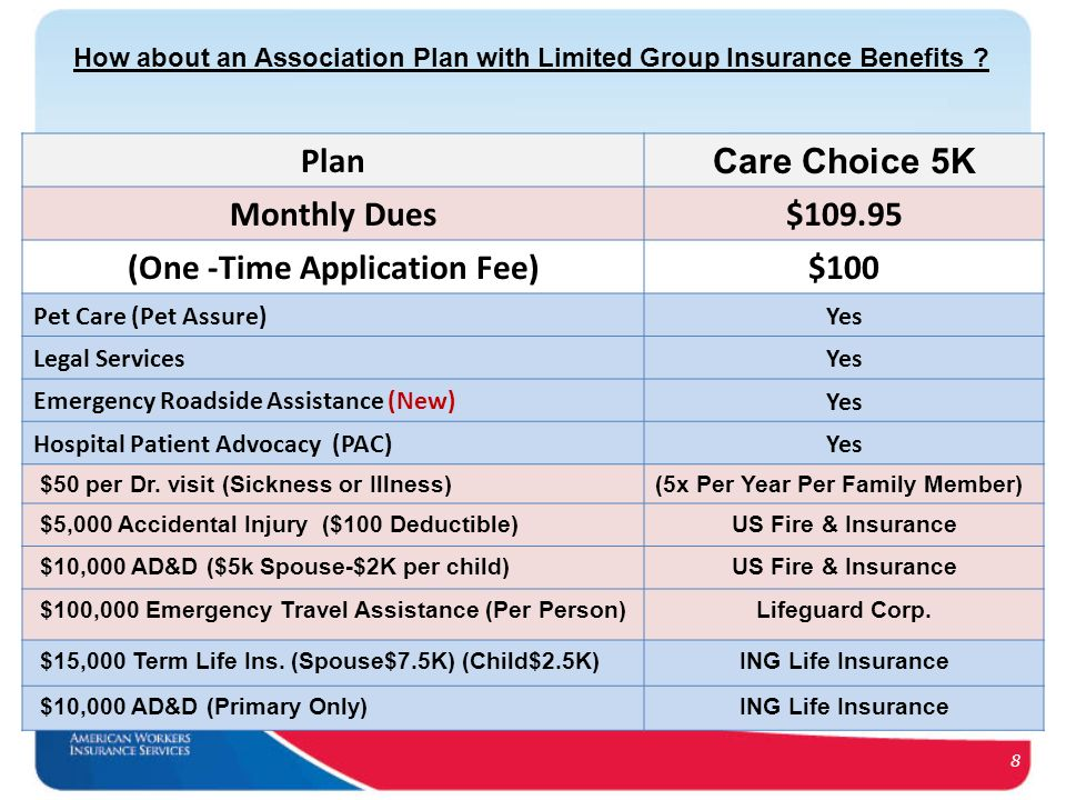 8 Plan Care Choice 5K Monthly Dues$109.95 (One -Time Application Fee)$100 Pet Care (Pet Assure)Yes Legal ServicesYes Emergency Roadside Assistance (New)Yes Hospital Patient Advocacy (PAC)Yes $50 per Dr.
