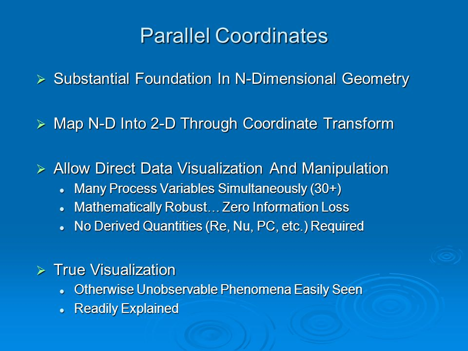 Parallel Coordinates Substantial Foundation In N-Dimensional Geometry Substantial Foundation In N-Dimensional Geometry Map N-D Into 2-D Through Coordi